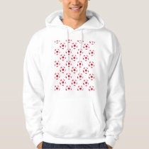 Red and White Soccer Ball Pattern Hoodie
