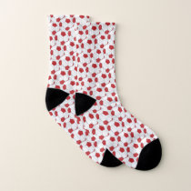 Red and White Soccer Ball Pattern Socks