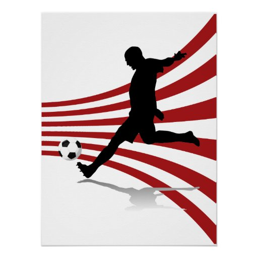 Red and White Soccer Player Poster