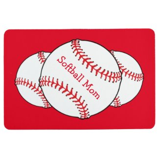 Red and White Softball Mom Sports Floor Mat