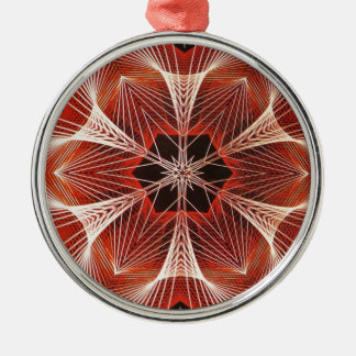 Red and White Spider Web Fractal Art Gifts Metal Ornament