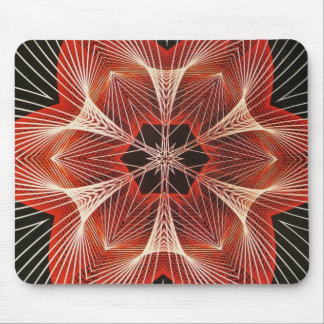 Red and White Spider Web Fractal Art Gifts Mouse Pad