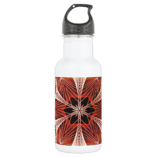 Red and White Spider Web Fractal Art 18oz Water Bottle