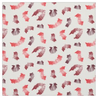 Red and White Spiky Abstract Pattern Fabric