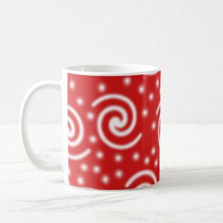 Red and white spiral pattern. coffee mug