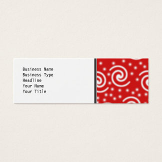 Red and white spiral pattern. mini business card