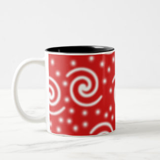 Red and white spiral pattern. mugs