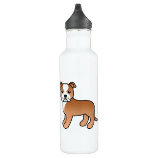 Red And White Staffordshire Bull Terrier Stainless Steel Water Bottle