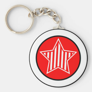 Red and White Star Keychain