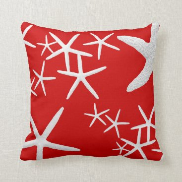 Beach Themed Red and White Starfish Decorative Throw Pillow