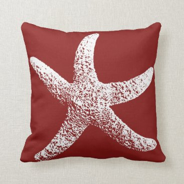 Beach Themed Red and White Starfish Pillow