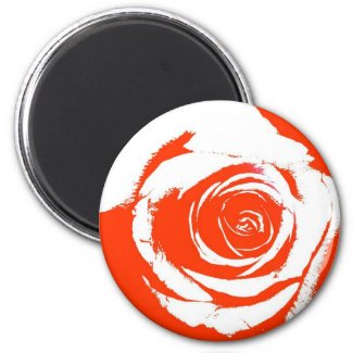 Red and White stark rose bloom graphic magnet