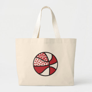 red and white stars basketball canvas bags