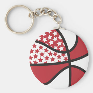 red and white stars basketball keychains