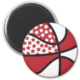 red and white stars basketball magnet