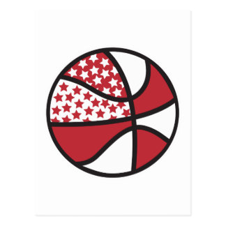 red and white stars basketball post cards