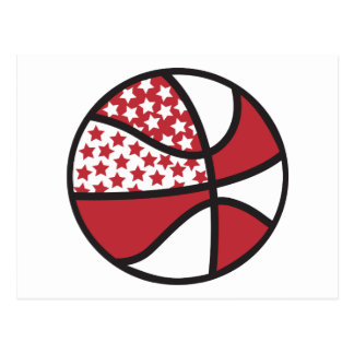 red and white stars basketball postcard