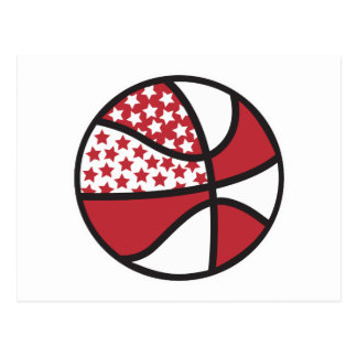 red and white stars basketball postcards