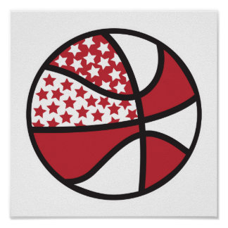 red and white stars basketball print