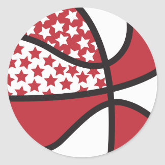 red and white stars basketball sticker