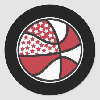 red and white stars basketball stickers