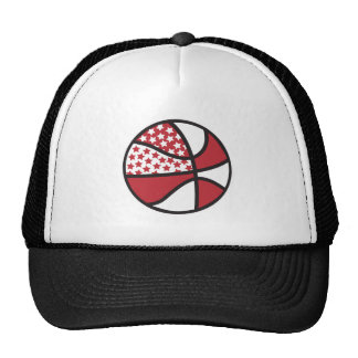 red and white stars basketball trucker hats