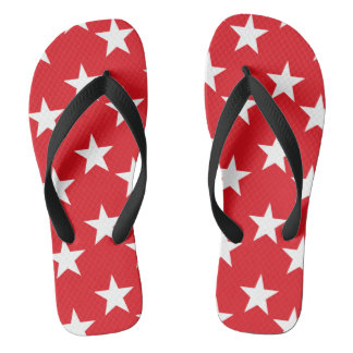 Red and White Stars Flip Flops