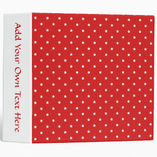 Red and white stars pattern. binder