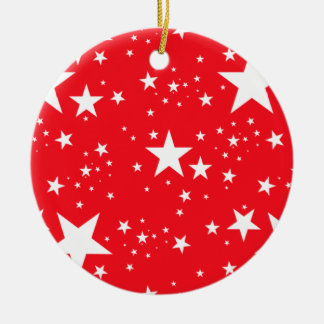 Red and White Stars pattern Ceramic Ornament