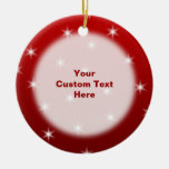 Red and White Stars Pattern. Christmas Ornament