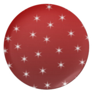 Red and White Stars Pattern. Dinner Plate