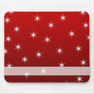 Red and White Stars Pattern. Mouse Pad