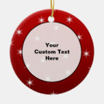 Red and White Stars Pattern. Christmas Tree Ornaments