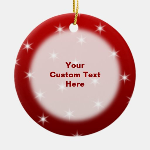 Red and White Stars Pattern. Double-Sided Ceramic Round Christmas Ornament
