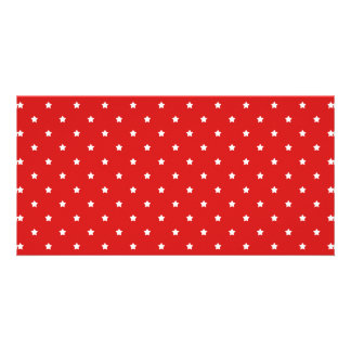 Red and white stars pattern. photo card