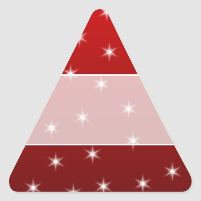 Red and White Stars Pattern. Triangle Sticker