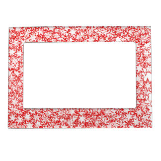 Red and White Stars Team Spirit Sports Colors Magnetic Frames