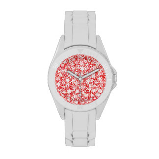 Red and White Stars Team Spirit Sports Colors Watches