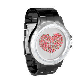 Red and White Stars Team Spirit Sports Colors Wristwatches