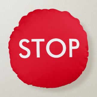 Red and White Stop Sign Accent Pillow