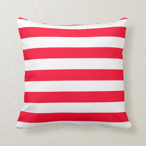 Throw Pillows Red And White : Red and White Strip Throw Pillow Zazzle