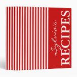 Red and white stripe design recipe binder book