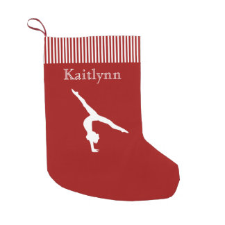 Red and White Stripe Gymnastics Christmas Stocking Small Christmas Stocking