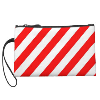 Red and White Stripe Mini Clutch Wristlets