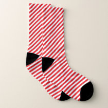 Red and white Stripe Pattern Socks