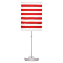 Red and White Stripe pattern Table Lamp