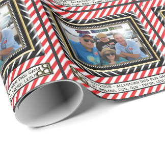 Red and White Stripe Photo Frame (Personalized) Wrapping Paper