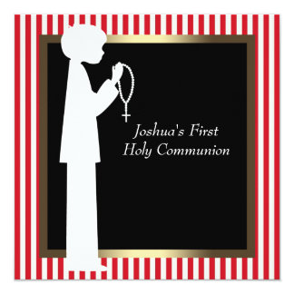 Red and White Stripe Rosary Boys First Communion Card