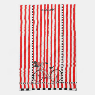 Red and White Striped bicycle Hand Towel