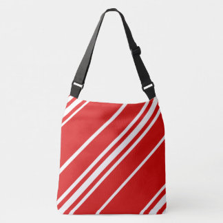 Red and White Striped Christmas Shoulder Bag Tote